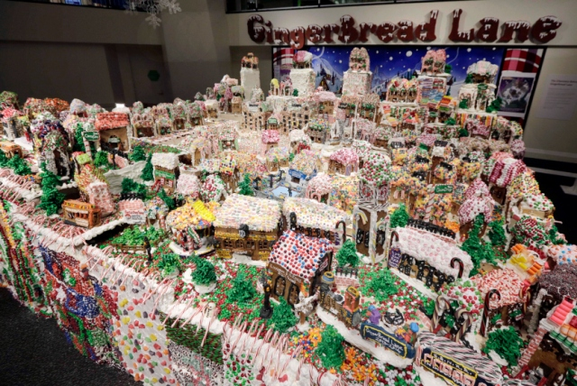 And the Largest Gingerbread Village created by Chef Jon Lovitch in 2013 in New York City.