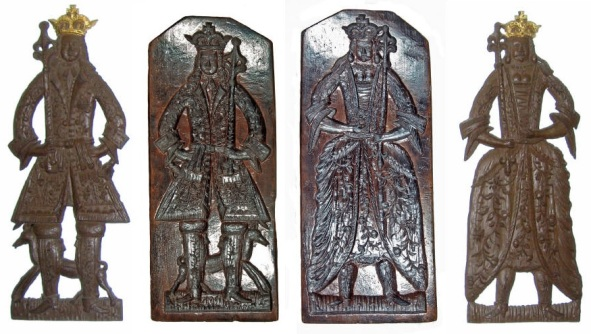 Front and back views of a fine and unusually large English carved oak double-sided gingerbread mold of the late 17th century, depicting King William III and Queen Mary, together with impressions taken from it. The mold was originally in the kitchens of Denston Hall, Newmarket. It measures 66cm in height. Photo by Michael Finlay [30]